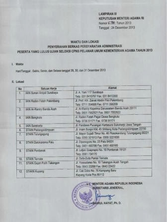 Pengumuman Kelulusan Test CPNS K2 Kemenag Kementerian Agama Tahun 2013 dari Pelamar Umum (6)