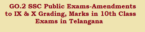 GO.2 SSC Public Exams-Amendments to IX & X Grading, Marks in 10th Class Exams in Telangana