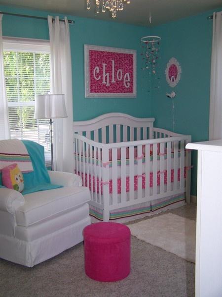 Habitacion de bebe rosa y turquesa dormitorios con estilo for Color scheme ideas for baby girl room