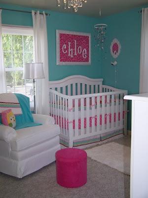 habitación rosa turquesa