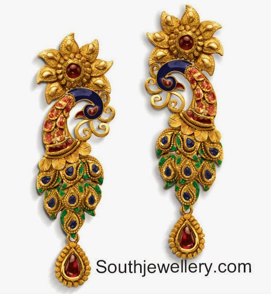 22 carat gold peacock earrings with enamel work