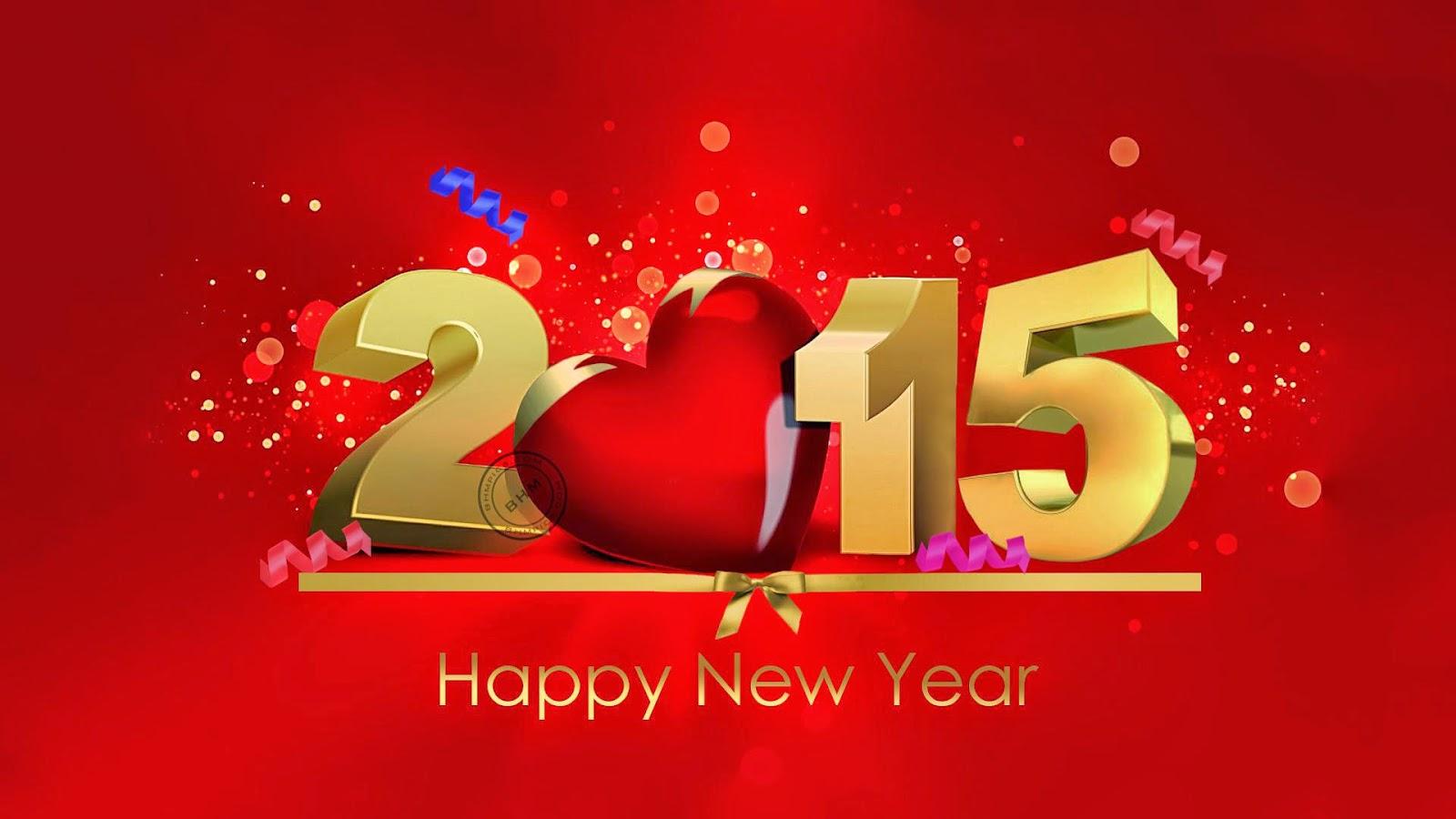 happy new year 2015 - #happynewyear2015 #heart #gold #redbackground