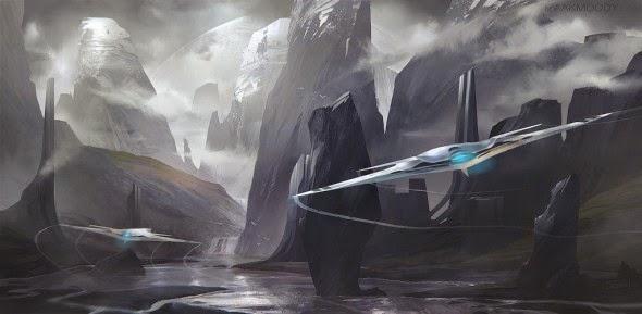 Izaak Moody apostolon-iam deviantart ilustrações ficção científica naves espaciais aliens futurista