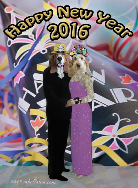Happy New Year photo of Bentley Basset Hound and Emma GBGV