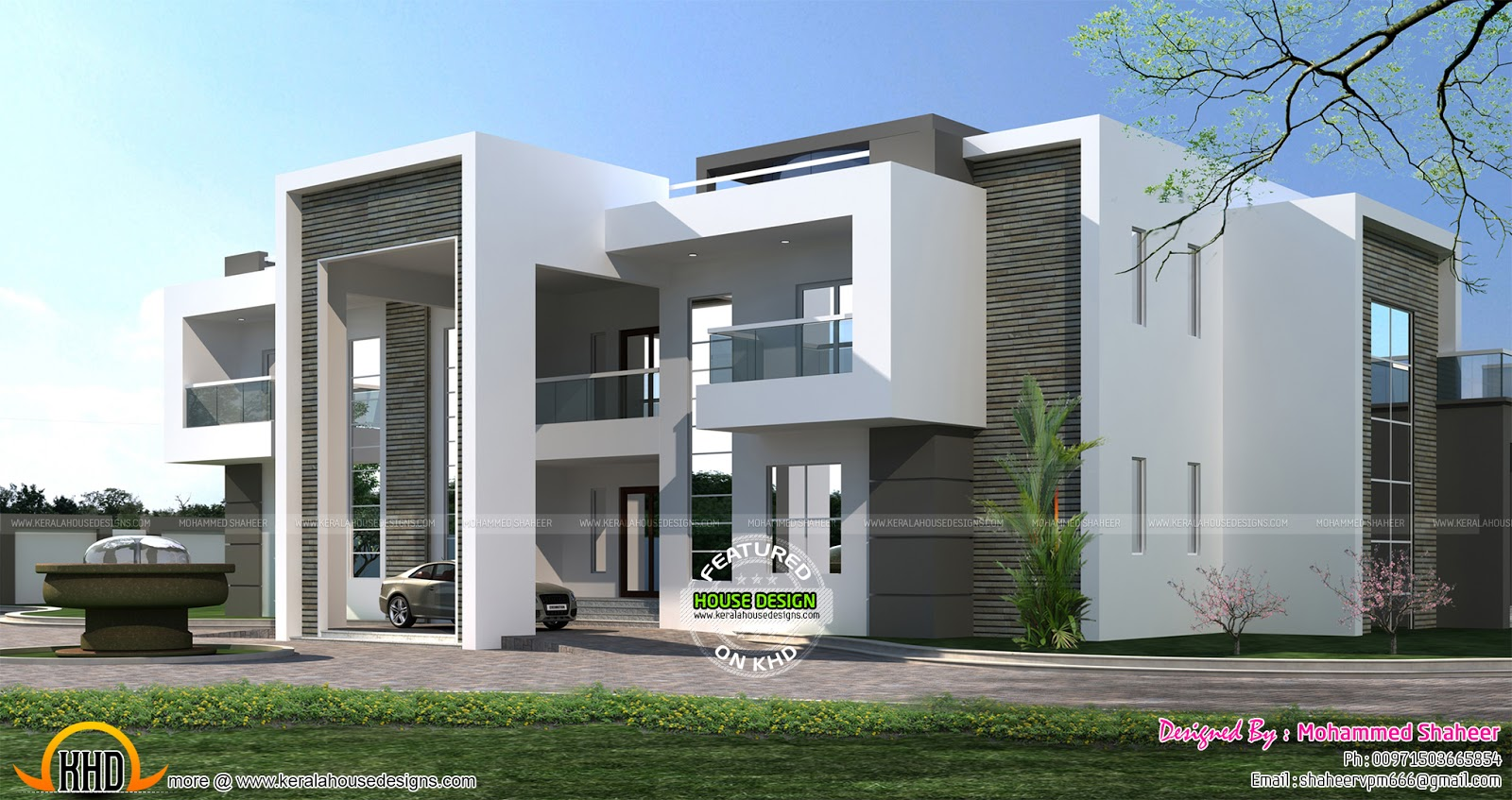 Flat roof arabian house plan kerala home design and for Flat exterior design