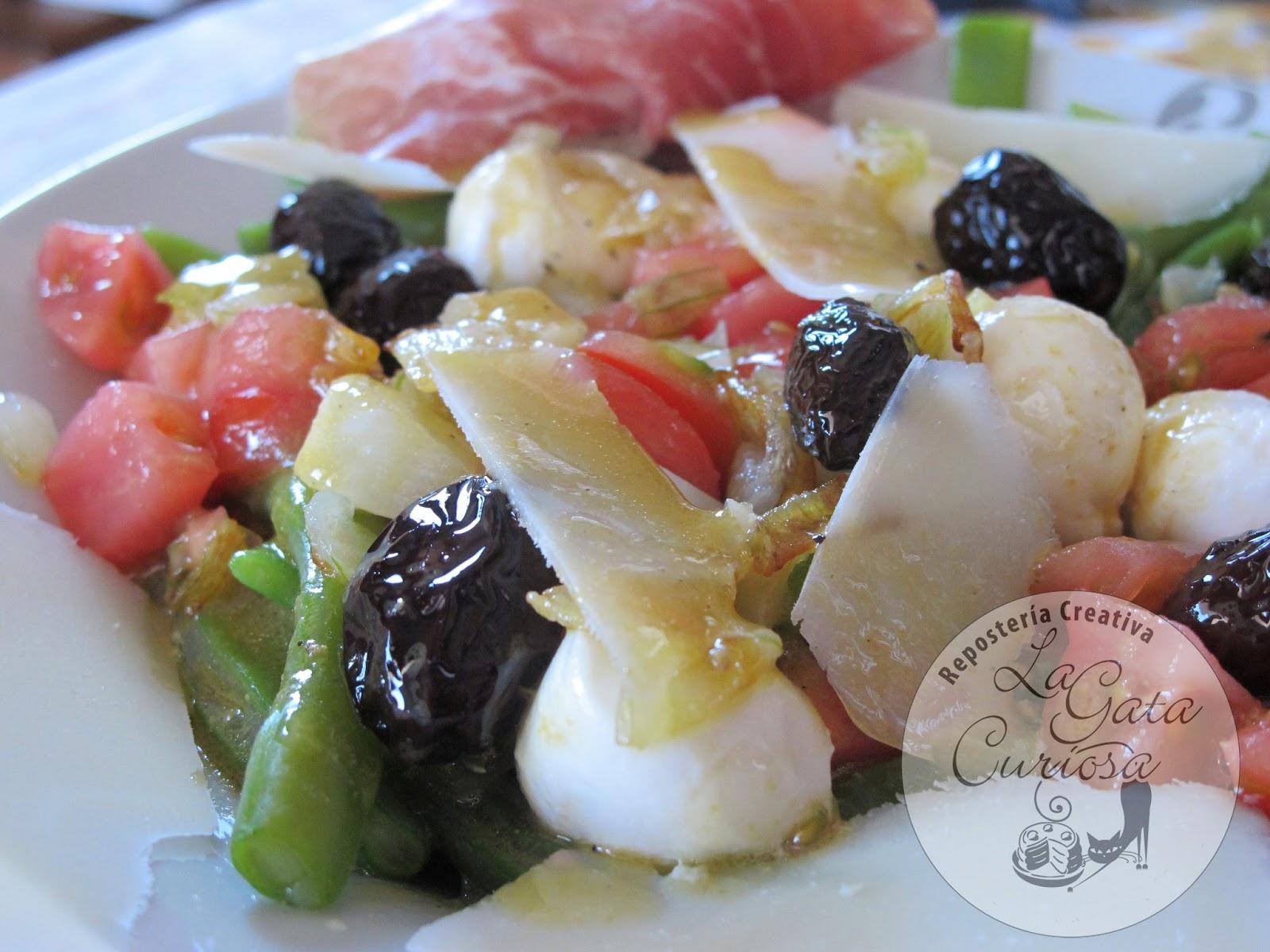 La gata curiosa ensalada de judias verdes jam n y mozzarella - Ensalada de judias verdes arguinano ...
