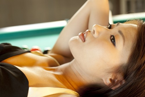 Japanese Model Saki Yamaguchi in black dress