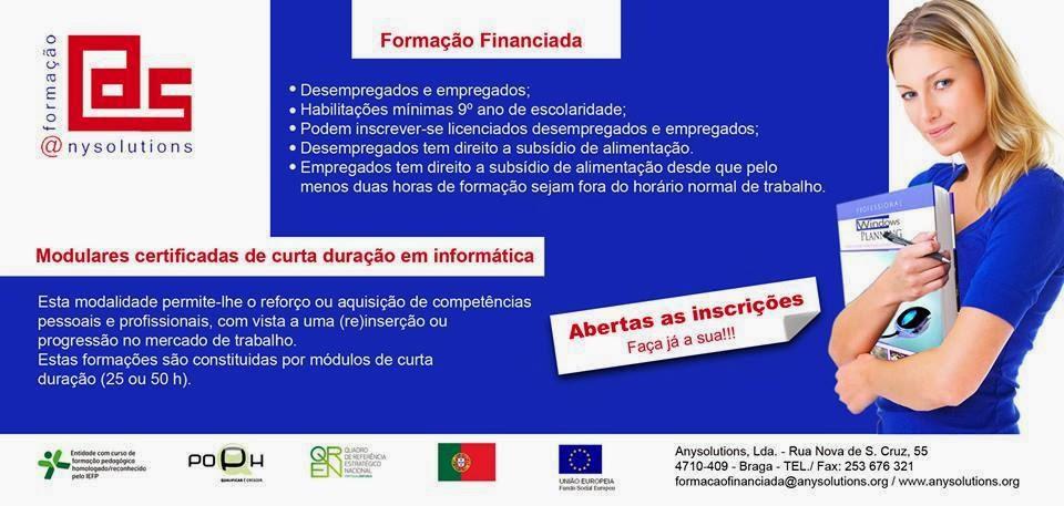 Formação financiada 2014 Braga (Área: informática)