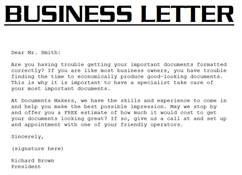 Business Letter Example 3000 Business Letter Template