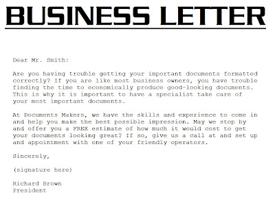 Business Letter Format For 5th Grade