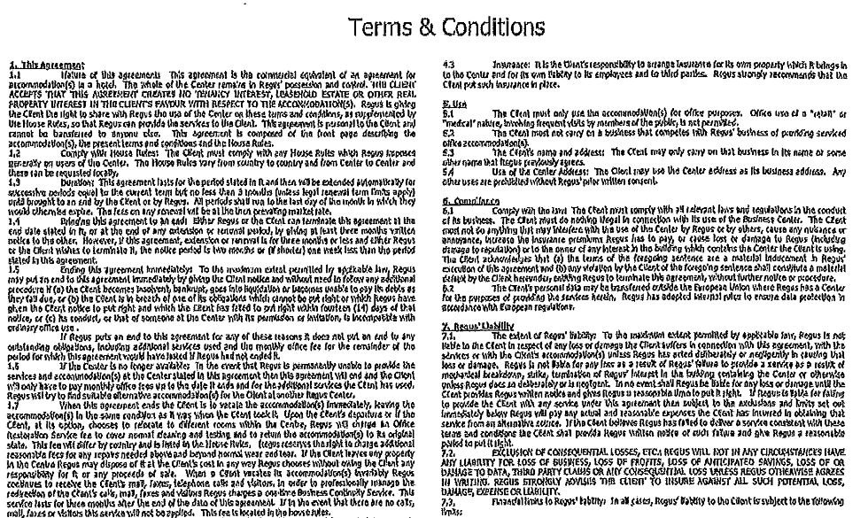 the terms of conditions then provide that the agreement includes