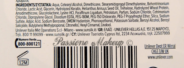 Sunsilk Keratinology inci maschera glossy nutriente