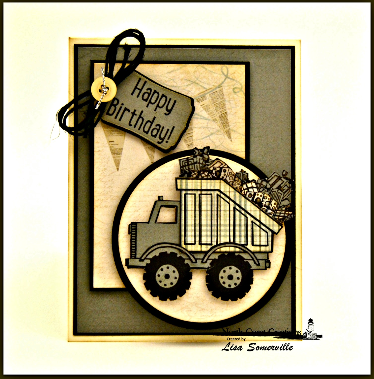 Stamps - North Coast Creations Dump Truck Birthday, Santa's Sleigh, Our Daily Bread Designs Custom Mini Tags Dies, ODBD Custom Circle Ornaments Dies, ODBD Custom Matting Circles Dies