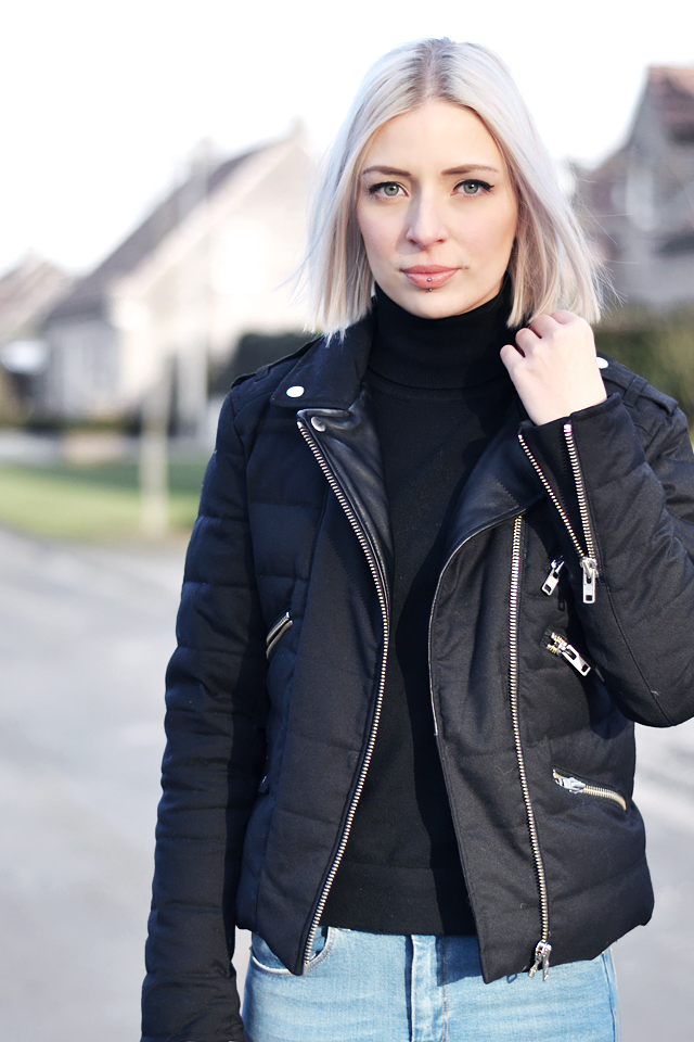 The kooples, jacket, skinny jeans, asos ridley, mango, turtleneck, outfit, blogger