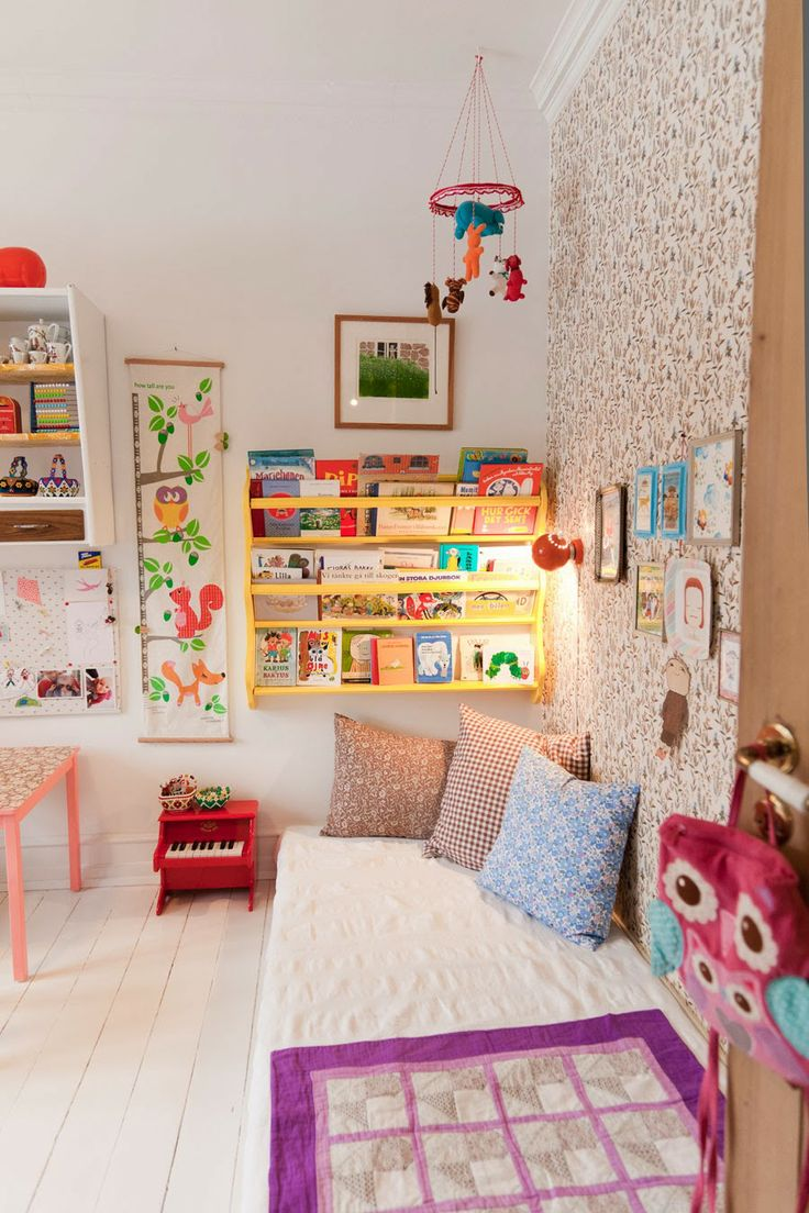 Children's colourful book nook