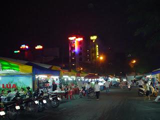 Ben Thanh Market, neon lights. Ho Chi Minh. Vietnam