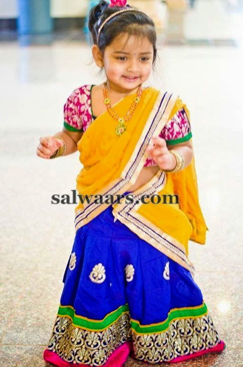Cute Baby Mustard Blue Half Saree