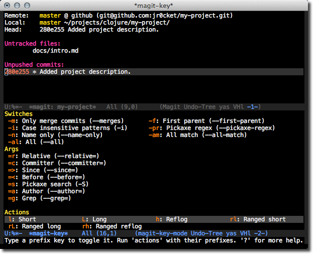 Emacs Magit - the log menu - l