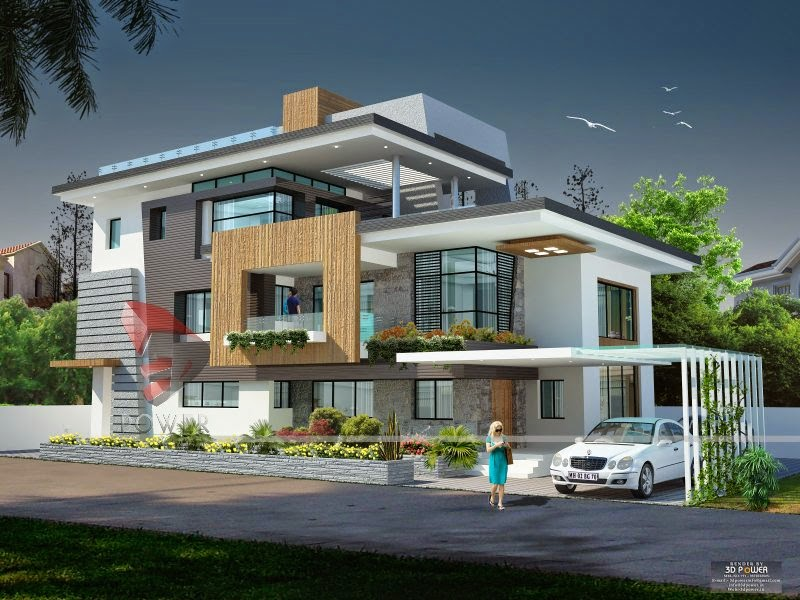 architectural rendering india - Exterior Modern Home Design