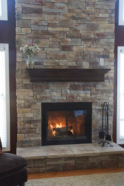 Stacked stone fireplace - fireplace options for upcoming makeover
