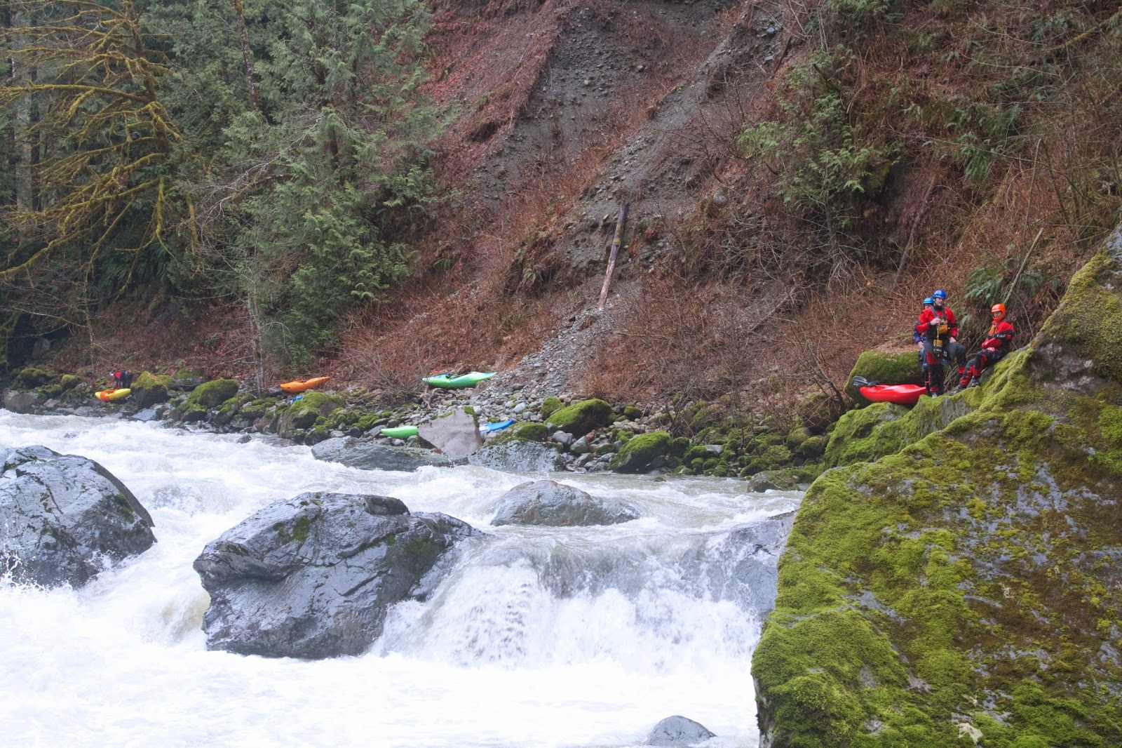 Deer Creek, Oso Washington, Badass Rivers, Kayaking near Oso, Oso river, Adrian Wigston, Brad Xanthopolous, Brock Gavery, Sean Lee, Mike Nash, Mamba 8.6 Creeker, Dagger Mamba 8.6