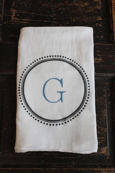 MODERN VINTAGE MARKETMonogrammed Tea Towels or Kitchen Towels