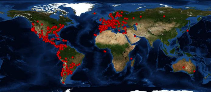 Conlapoesíaenlaboca en el MUNDO: 731 localizaciones, 62 países. GRACIAS A TODOS !