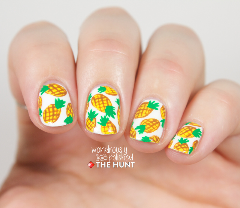 Not going to lie, kind of obsessed with these little pineapples! Head to  blog.thehunt.com to check out my easy how-to for this look! - Wondrously Polished: The Hunt - Mani Monday Pineapple Nail Art