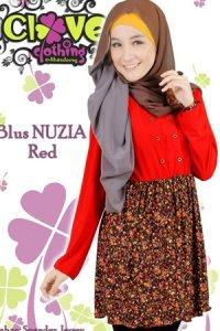 Clover Clothing Blus Nuzia - Red (Toko Jilbab dan Busana Muslimah Terbaru)