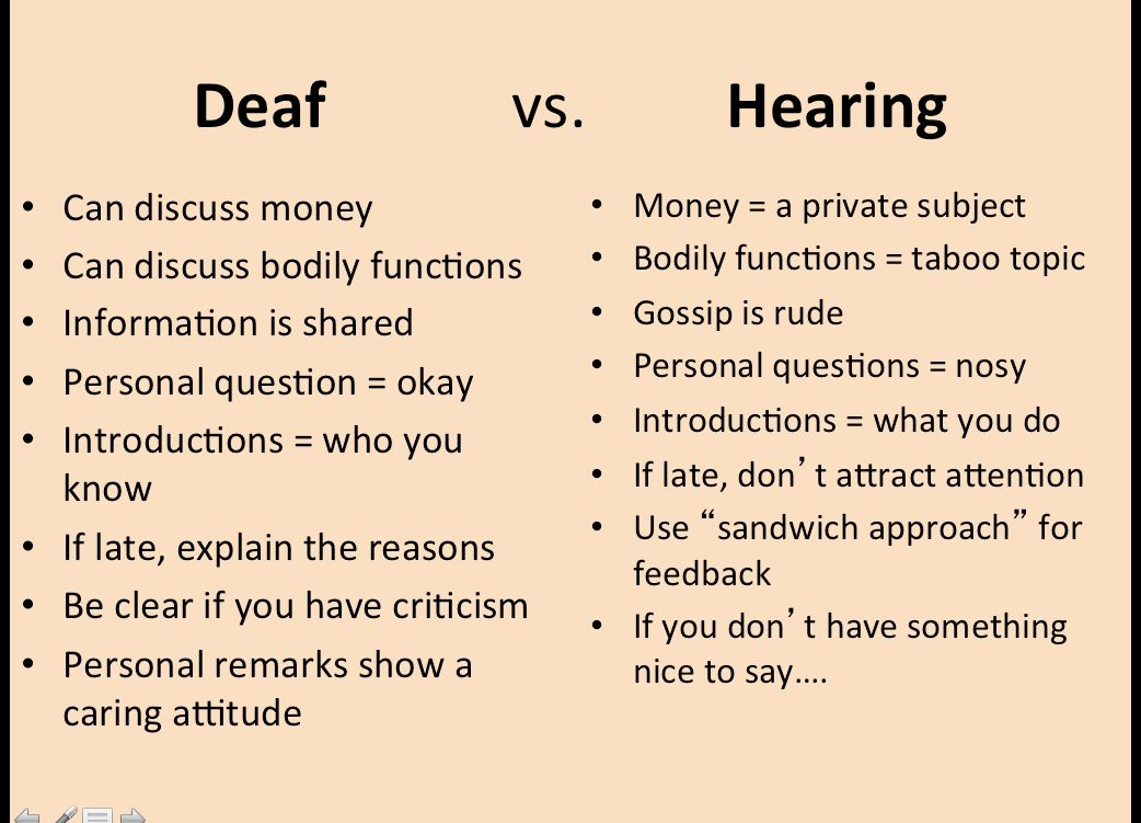 an essay on the deaf culture community and hearing people Culture and deaf culture essay writing service deaf culture is a unique culture, which is created by deaf and hard-of-hearing people for better understanding of this notion the deaf community is a unique group of people.