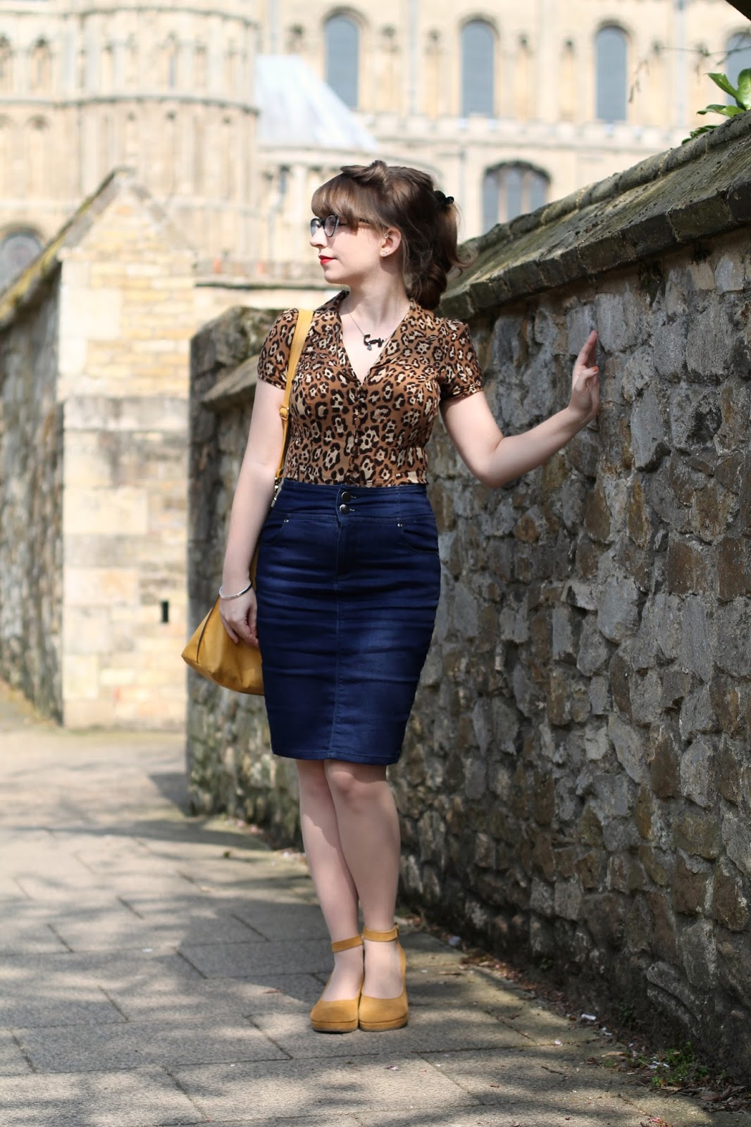 Casual rockabilly - leopard print blouse, denim pencil skirt, yellow ankle strap shoes and ponytail