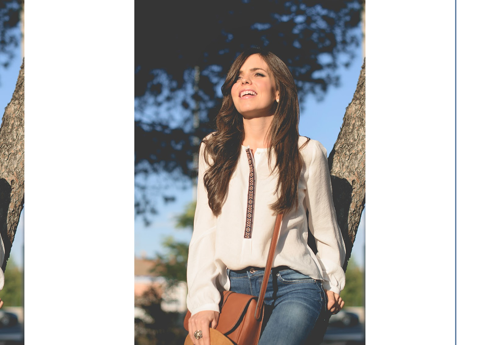 Look de estilo boho con pantalones de campana de Zara