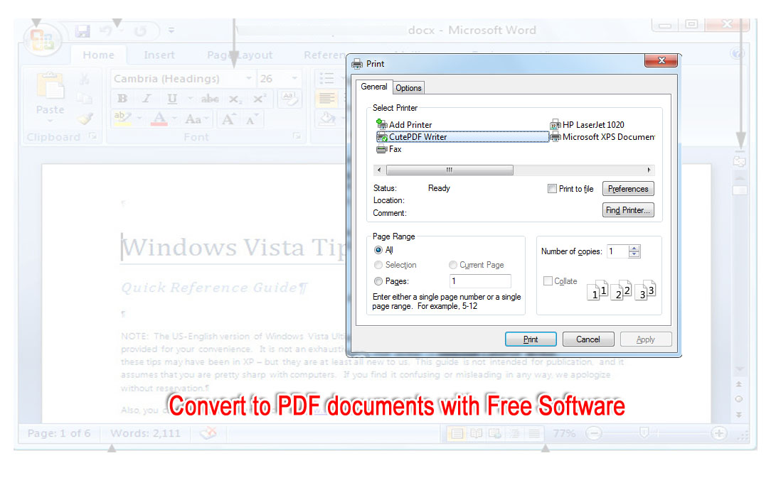 cutepdf writer download free windows 7