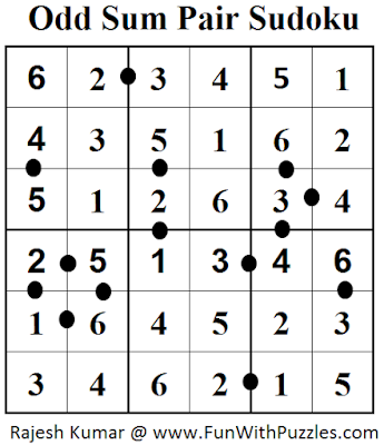 Odd Sum Pair Sudoku (Mini Sudoku Series #66) Answer