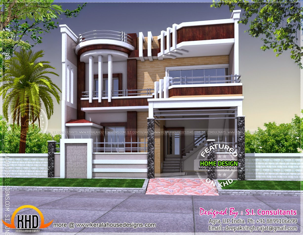 Contemporary and unique house with plan kerala home for Home front design indian style