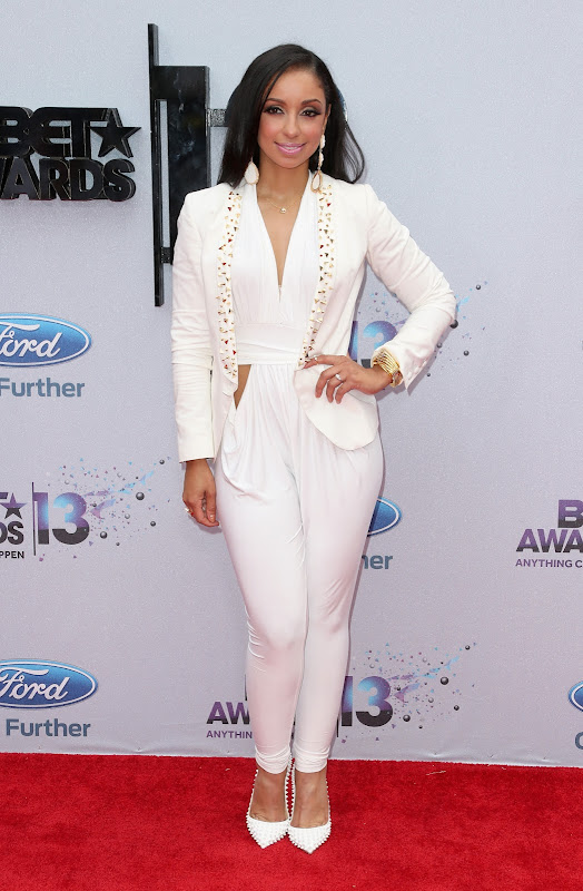 Mya attends the 2013 BET Awards red carpet