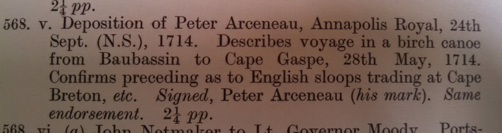 mention of a report of an exploration of Gaspe