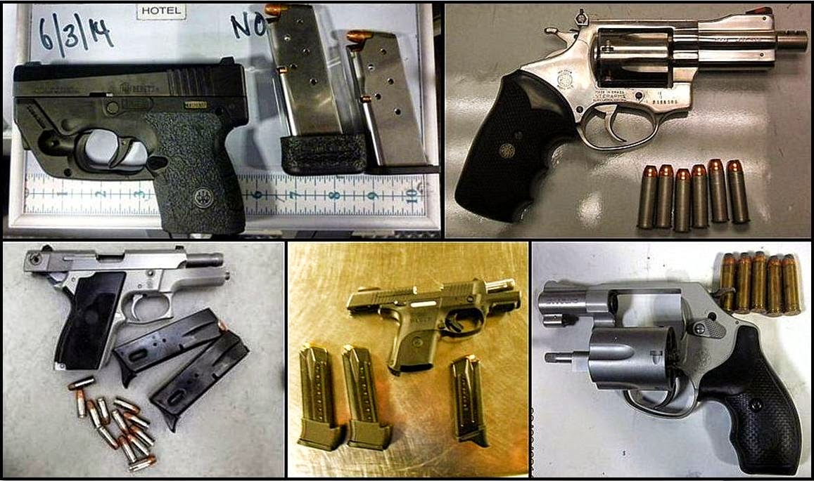 Clockwise from top left - Firearms discovered at FLL, RDU, DEN, PHX, and JAN.
