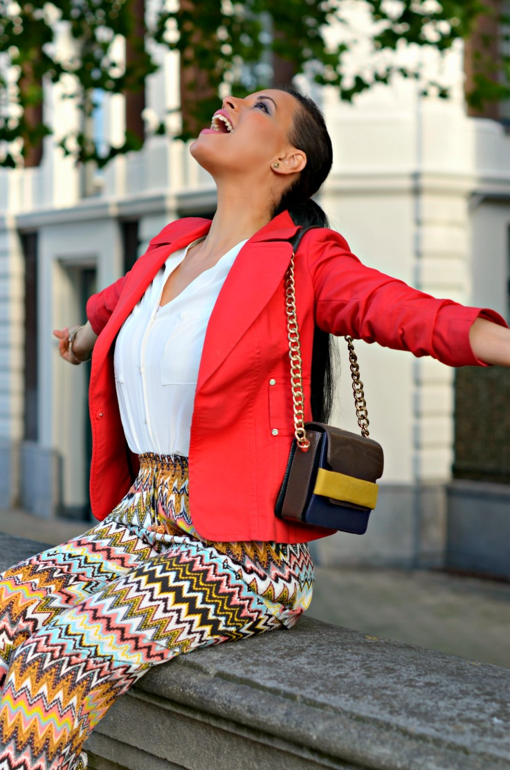 Red Zara blazer,aztec print pants,Supertrash bracelet,summer outfit