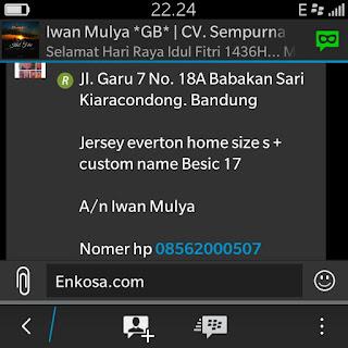 Konfirmasi alamat lengkap Iwan Mulya oleh enkosa sport