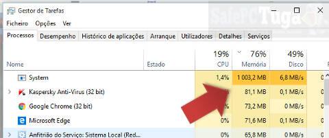 Processo system do Windows 10 usando muita RAM