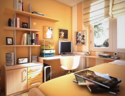 Cool Teen Orange Dorm Room Design Idea For Decorating