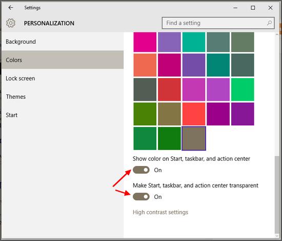 windows 10 creators update how to make taskbar transparent