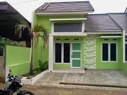 kombinasi warna cat rumah hijau tampak depan