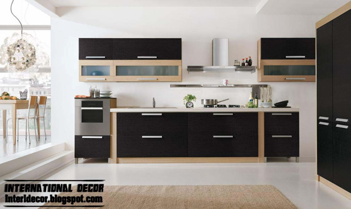 Modern black kitchen designs ideas furniture cabinets 2015 for Modern kitchen furniture images