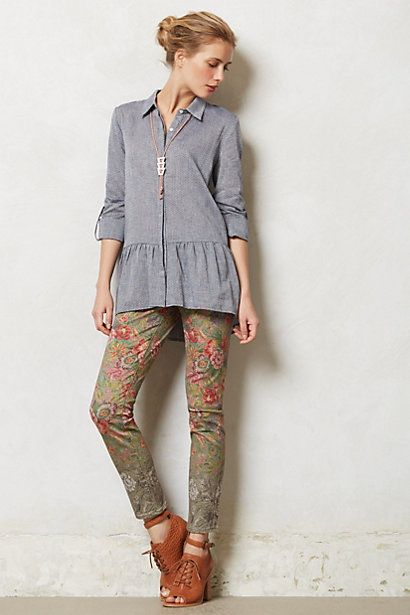 Anthropologie slim pants embroidered