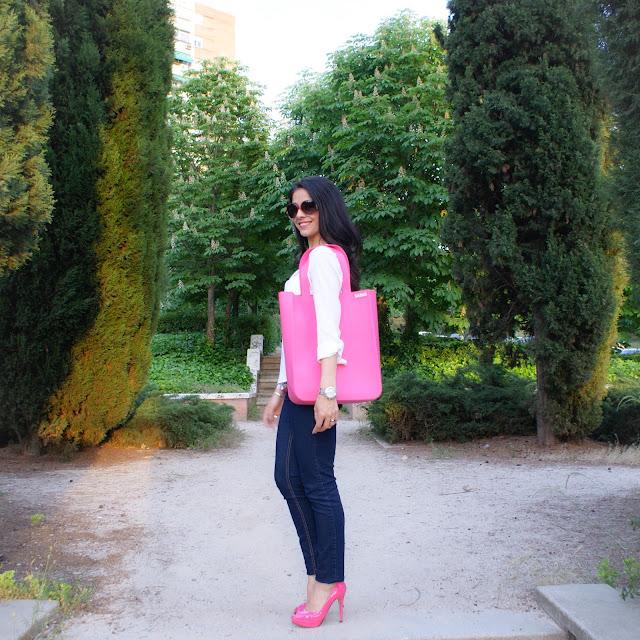 Look: SiliBAG, Peeptoes, rosa, charol, primavera