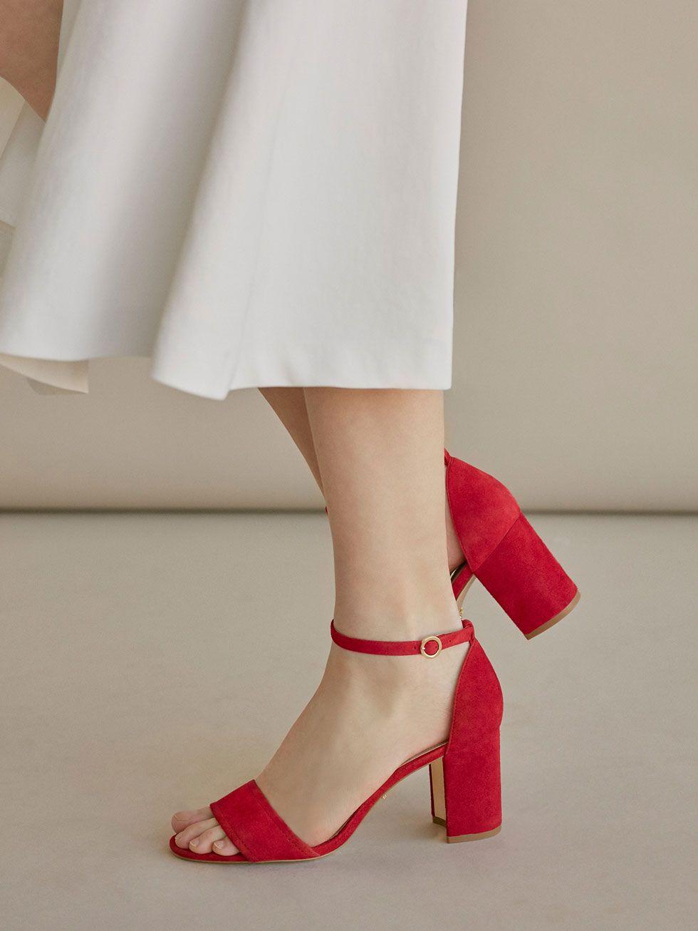 MASSIMO DUTTI-Sandale roşii din piele naturală întoarsă, mărimea 39