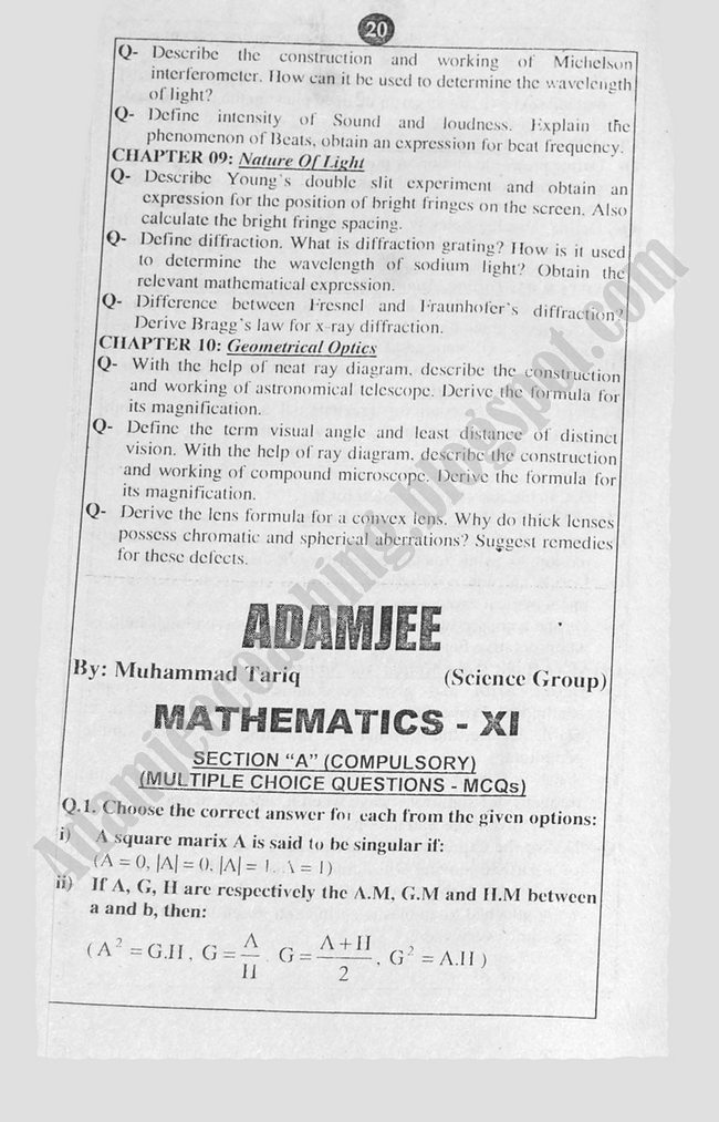 Mathematics Guess Papers Science Group XI 2013