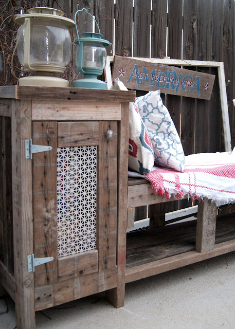 DIY Outdoor Storage Bench with side cabinet to hide BBQ supplies like charcoal!